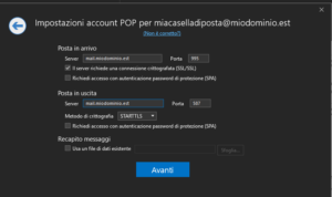 Configurazione SSL POP e SMTP